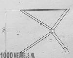 Triangle X kruispoot stalen onderstel voor ronde tafel