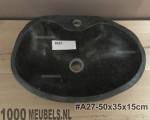 Riverstone sink 40...50cm x 30...40cm x 15cm with cranehole