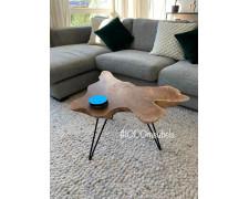 Teak houten salon tafel boomstam / wortel schijf